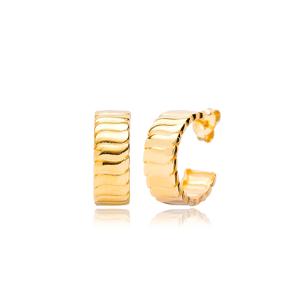 Trendy Plain Hoop Design Earrings Wholesale Turkish 925 Sterling Silver Jewelry