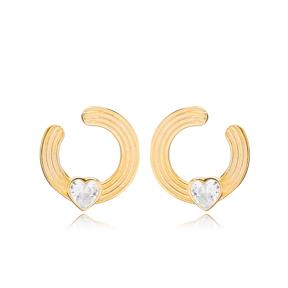 Hollow Shape Minimalist Heart Design Stud Earring Turkish 925 Sterling Silver Jewelry