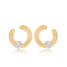 Hollow Design Minimalist Round Shape Stud Earrings Wholesale 925 Sterling Silver Jewelry
