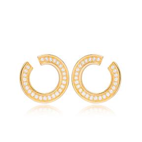 Hollow Design Zircon Stone Stud Earring Wholesale Turkish 925 Sterling Silver Jewelry