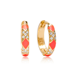 Neon Pink Enamel Earrings Wholesale Turkish 925 Sterling Silver Jewelry
