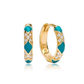 Neon Turquoise Enamel Earrings Wholesale Turkish 925 Sterling Silver Jewelry