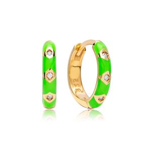 Neon Green Enamel Earrings Wholesale Turkish 925 Sterling Silver Jewelry
