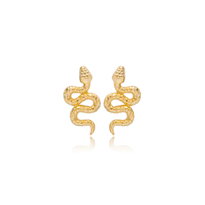Snake Design Minimalist Stud Earrings Turkish 925 Sterling Silver Jewelry