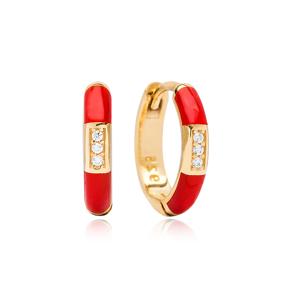 Neon Red Enamel Wholesale Turkish 925 Sterling Silver Earrings