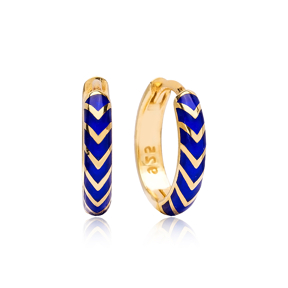 Navy Blue Neon Enameled Wholesale Turkish Handmade 925 Sterling Silver Earrings