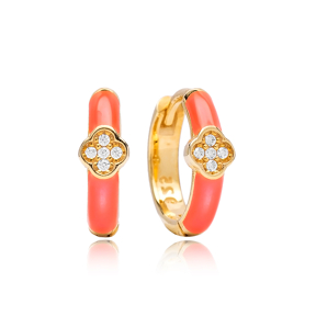 Clover Design Pink Enamel Wholesale Turkish 925 Sterling Silver Earrings