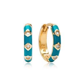 New Turquoise Enamel Enamel Wholesale Turkish 925 Sterling Silver Earrings