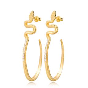 Snake Design Plain Hoop Earrings Turkish Handmade 925 Sterling Silver Jewelry