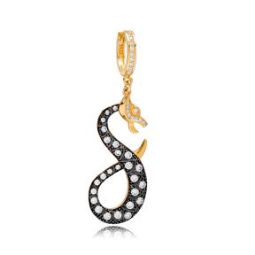 Snake Design Zircon Dangle Single Earrings Turkish Handmade 925 Sterling Silver Jewelry