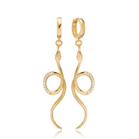 Unique Snake Design Zircon Earrings Turkish Wholesale 925 Sterling Silver Jewelry