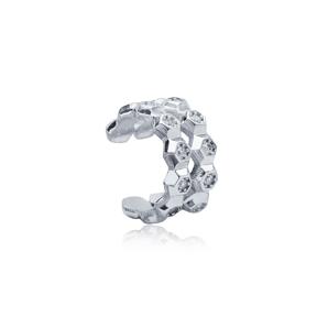 Minimalist Hexagon Design Zircon Stone Cartilage Earring 925 Sterling Silver Jewelry