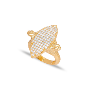 Zircon Snake Design Ring Wholesale 925 Sterling Silver Jewelry