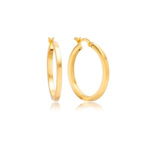 22K Gold Plain Design Hoop Vintage Earrings Handcrafted Wholesale 925 Sterling Silver Jewelry