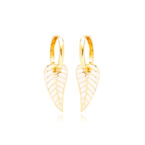 White Enamel Leaf Design Earrings Turkish Wholesale 925 Sterling Silver Jewelry