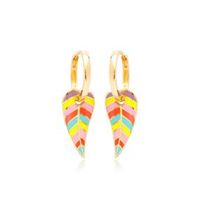 Colorful Enamel Leaf Design Earrings Turkish Wholesale 925 Sterling Silver Jewelry