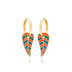Leaf Design Enameled Earrings Turkish Wholesale 925 Sterling Silver Jewelry