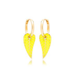 Neon Yellow Enamel Leaf Design Earrings Turkish Wholesale 925 Sterling Silver Jewelry