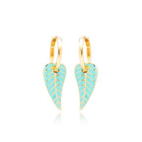 Turquoise Enamel Leaf Design Earrings Turkish Wholesale 925 Sterling Silver Jewelry
