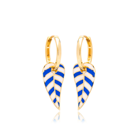 Blue and White Enamel Leaf Design Earrings Turkish Wholesale 925 Sterling Silver Jewelry