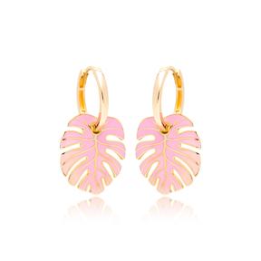 Palm Leaf Pink Enamel Design Earrings Turkish Wholesale 925 Sterling Silver Jewelry