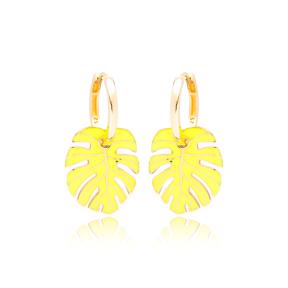 Palm Leaf Neon Yellow Enamel Design Earrings Turkish Wholesale 925 Sterling Silver Jewelry