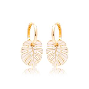 Palm Leaf White Enamel Design Earrings Turkish Wholesale 925 Sterling Silver Jewelry