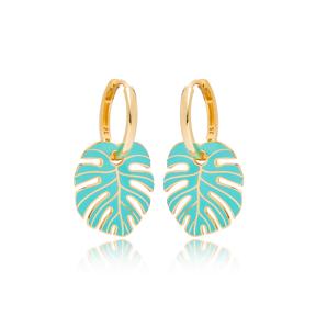 Palm Leaf Turquoise Enamel Design Earrings Turkish Wholesale 925 Sterling Silver Jewelry