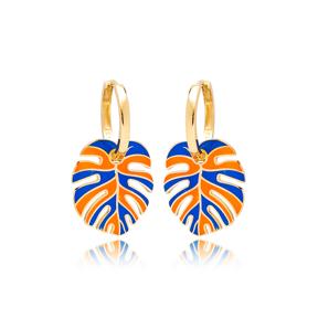 Palm Leaf Enameled Design Earrings Turkish Wholesale 925 Sterling Silver Jewelry