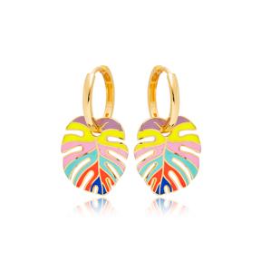Palm Leaf Colorful Enamel Design Earrings Turkish Wholesale 925 Sterling Silver Jewelry