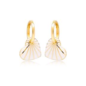 Heart Design White Enamel Earrings Turkish Wholesale 925 Sterling Silver Jewelry