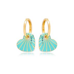 Heart Design Turquoise Enamel Earrings Turkish Wholesale 925 Sterling Silver Jewelry