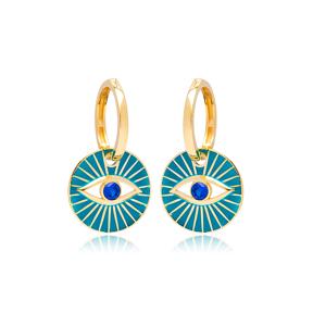 Evil Eye Design Turquoise Enamel Earrings Turkish Wholesale 925 Sterling Silver Jewelry
