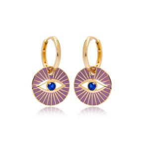 Purple Enamel Evil Eye Design Earrings Turkish Wholesale 925 Sterling Silver Jewelry