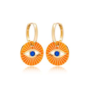 Orange Enamel Evil Eye Design Earrings Turkish Wholesale 925 Sterling Silver Jewelry