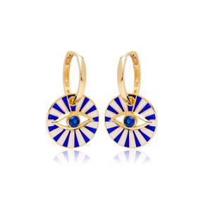 Sapphire Stone Enameled Evil Eye Design Earrings Turkish Wholesale 925 Sterling Silver Jewelry