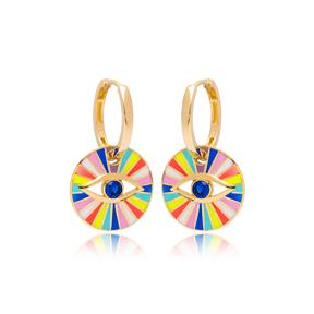 Rainbow Enamel Evil Eye Design Earrings Turkish Wholesale 925 Sterling Silver Jewelry