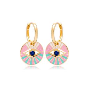Pink Enamel Evil Eye Design Earrings Turkish Wholesale 925 Sterling Silver Jewelry
