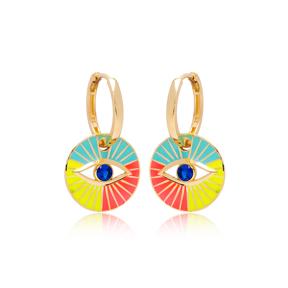 Colorful Enamel Evil Eye Design Earrings Turkish Wholesale 925 Sterling Silver Jewelry