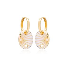White Enamel Oval Shape Earrings Turkish Wholesale 925 Sterling Silver Jewelry
