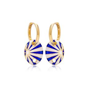 Blue White Enamel Oval Shape Earrings Turkish Wholesale 925 Sterling Silver Jewelry