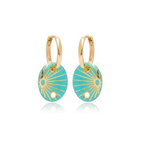 Turquoise Enamel Oval Shape Earrings Turkish Wholesale 925 Sterling Silver Jewelry