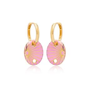 Pink Enamel Oval Shape Earrings Turkish Wholesale 925 Sterling Silver Jewelry