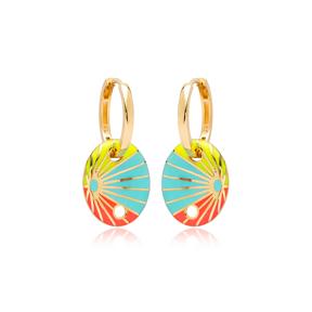 Rainbow Enamel Oval Shape Earrings Turkish Wholesale 925 Sterling Silver Jewelry