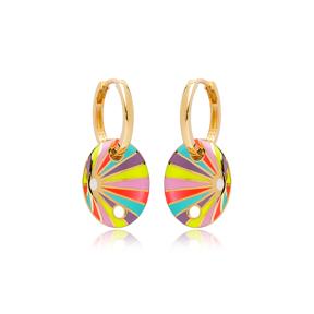 Colorful Enamel Oval Shape Earrings Turkish Wholesale 925 Sterling Silver Jewelry