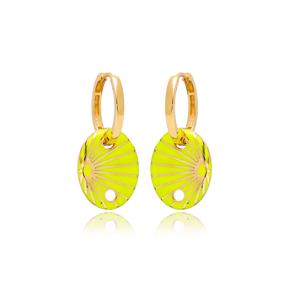 Neon Yellow Enamel Oval Shape Earrings Turkish Wholesale 925 Sterling Silver Jewelry