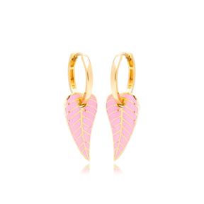 Pink Enamel Leaf Design Earrings Turkish Wholesale 925 Sterling Silver Jewelry