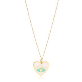 Heart Shape White Enamel Eye Design Necklace Turkish Handmade 925 Sterling Silver Jewelry