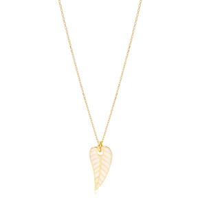 White Enamel Color Leaf Design Necklace Turkish 925 Sterling Silver Summer Jewelry