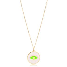 Eye Design Trendy Enamel Pendant Necklace Handmade Turkish 925 Sterling Silver Jewelry